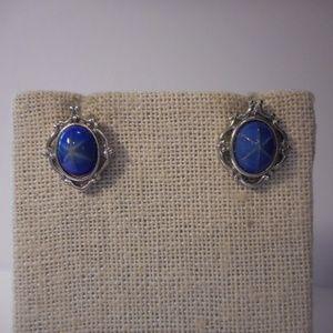 Avon Blue Star Faux Sapphire Pierced Earrings